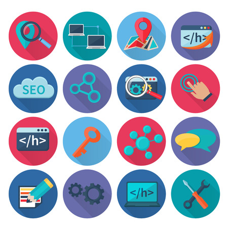 icons site search: Seo marketing search optimization and web analytics icons flat long shadow set isolated vector illustration Illustration