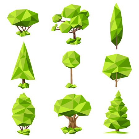 parameter: Green trees flat pictograms collection with geometrical foliage elements crown shape style sketch abstract isolated vector illustration Illustration
