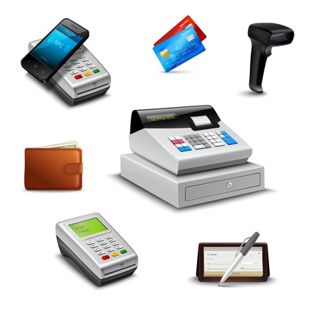Realistic payment set with cheque wallet barcode reader isolated vector illustration 일러스트