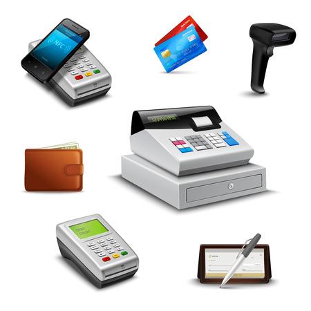 tarjeta de credito: Conjunto de pagos realista con aislados lector de código de barras cheque billetera ilustración vectorial