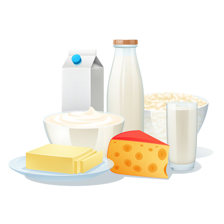 milk cheese: Fresh organic milk products set with cheese and butter vector illustration