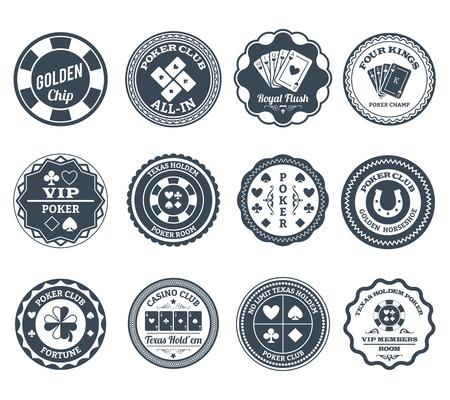 cartas poker: Clubes de póquer de juegos de Casino chips de oro y royal flush símbolos etiquetas negras conjunto abstracto aislado ilustración vectorial