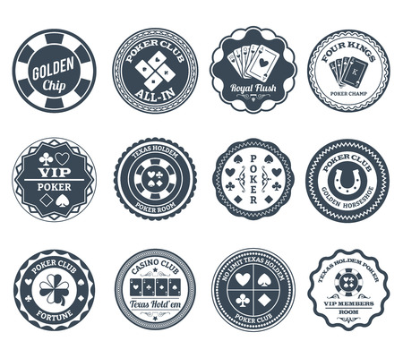 Casino gambling poker clubs golden chip and royal flush symbols black labels set abstract isolated vector illustration Illustration
