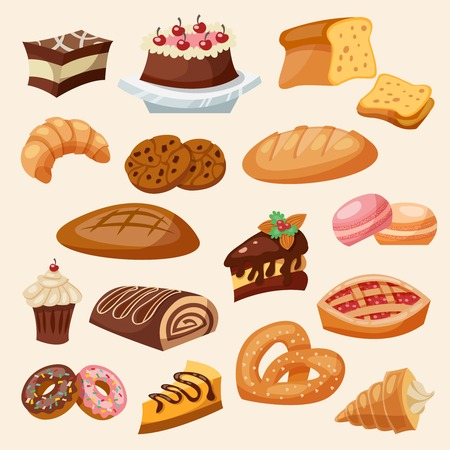 pastry: Flat decorative icon pastry and sweets set isolated vector illustration