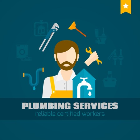 handyman tools: Plumber handyman with pipe repair tools flat icon vector illustration Illustration