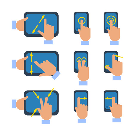 Tablets and smartphones touchscreen gestures turn select enlarge reduce icons set flat isolated vector illustration