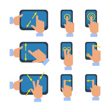 ampliar: Tablets e smartphones touchscreen gestos transformar selecione ampliar reduzir os