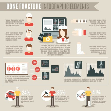 physiology: Fracture bone infographics set with medicine and physiology symbols and charts vector illustration Illustration