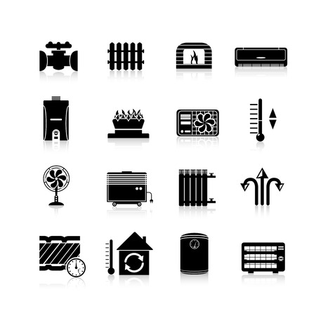 hot temperature: Heating icons black set with heat and cooling household system symbols isolated vector illustration