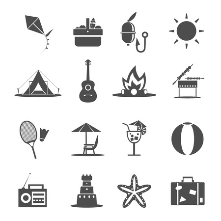 kite: Summer holiday vacation and recreation icon black set isolated vector illustration Illustration