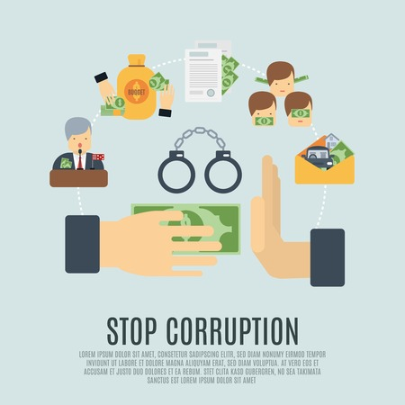 Stop corruption concept with bribe corrupt business flat icons set vector illustration Illustration
