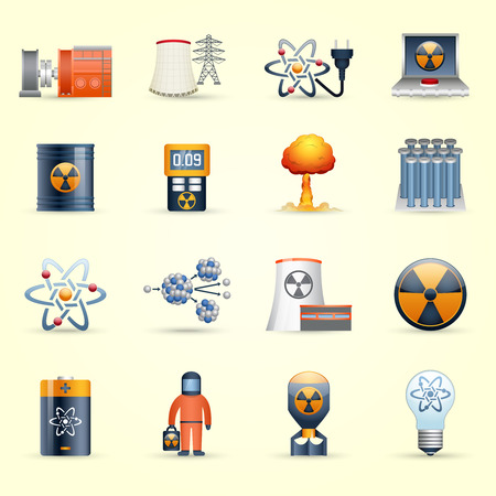 Managing radioactive waste by nuclear power production icons set on yellow back ground abstract isolated vector illustration