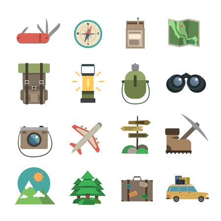 ice axe: Package holiday hiking tour accessories flat icons set of compass map and camera abstract isolated vector illustration Illustration