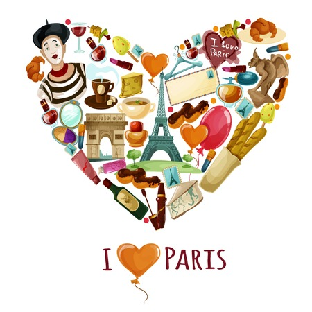 shape vector: Paris poster with cartoon touristic symbols in heart shape vector illustration
