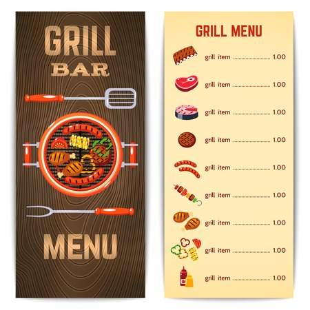 meat grill: Grill restaurant menu with barbecue food meat dishes vector illustration Illustration