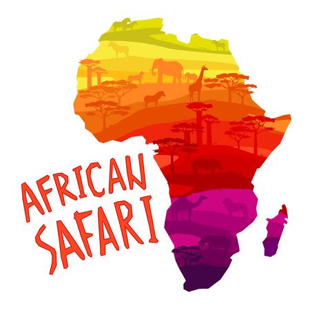 Afrikaanse safari concept met Afrikaanse vasteland silhouet gevuld met dieren en bomen begrip vector illustratie. Stock Illustratie