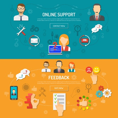 feedback sticker: Support banner horizontal set with online feedback elements flat isolated vector illustration Illustration
