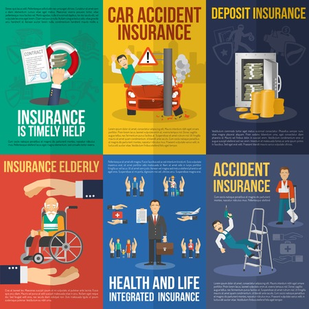 mini car: Insurance mni poster set with car acciden deposit health and life help isolated vector illustration