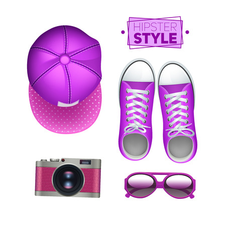sunglasses isolated: Girl hipster accessories set with gumshoes cap photo camera and sunglasses isolated vector illustration
