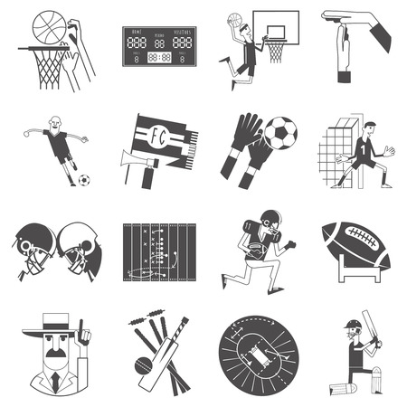 competitive sport: Basketball cricket and football competitive matches team sport attributes symbols icons collection black abstract vector isolated illustration Illustration