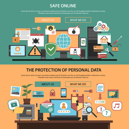 data protection: Safe online consulting internet technology company home webpage layout horizontal banners set flat isolated abstract vector illustration