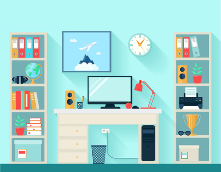 computers office: Workspace in room with computer table and bookshelves on blue wallpaper background flat vector illustration Illustration