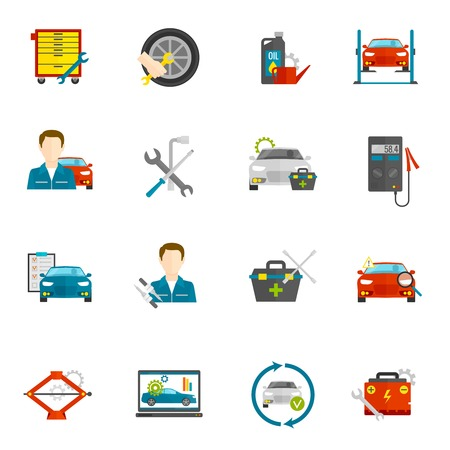 car mechanic: Auto mechanic and car repair flat icons set isolated vector illustration