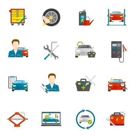 mecanico: Mec�nico de autom�viles y reparaci�n de autom�viles iconos planos establecen aislado ilustraci�n vectorial