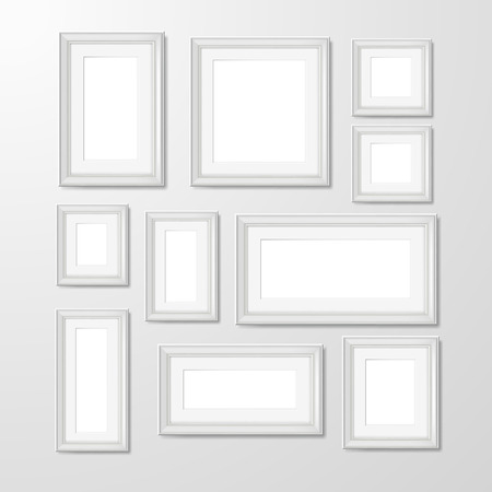 white picture frame: White modern rectangular geometric shape wall frames collection for photographs pictures and memories abstract isolated vector illustration