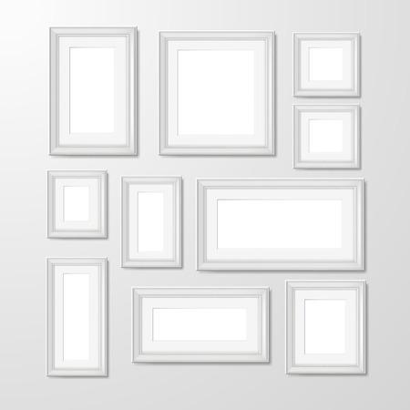 Witte moderne rechthoekige geometrische muur vorm frames inzameling voor foto's en herinneringen abstract geïsoleerde vector illustratie