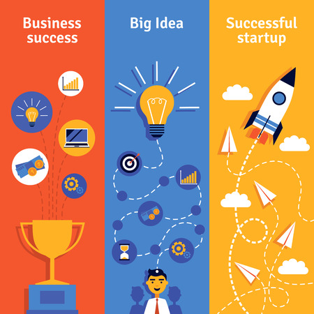 koncepció: Üzleti koncepció ötlete indítási és a siker függőleges bannerek lapos elszigetelt vektoros illusztráció