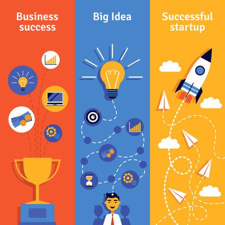 Concepto de negocio con la idea puesta en marcha y éxito banners verticales plana aislado ilustración vectorial