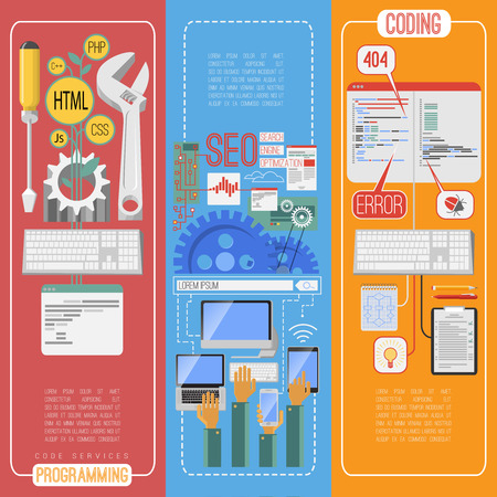 optimization: Seo search engine optimization flat vertical banners set with mobile webpage keywords editing abstract isolated vector illustration Illustration