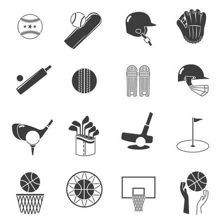 sport equipment: Sport icons black set with tennis baseball and volleyball equipment isolated vector illustration Illustration