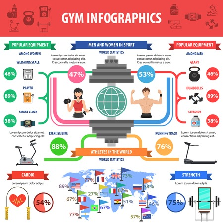 cardio workout: Gym and fitness cardio and bodybuilder workout infographics symbols set vector illustration