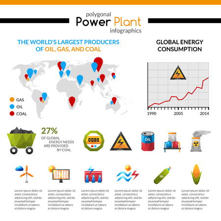 extraction: Power plant energy consumption and mineral extraction poligonal infographic isolated vector illustration Illustration