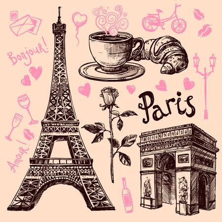 파리 에펠 탑과 빵집 손을 그리기 기호 설정 벡터 일러스트 레이 션 일러스트