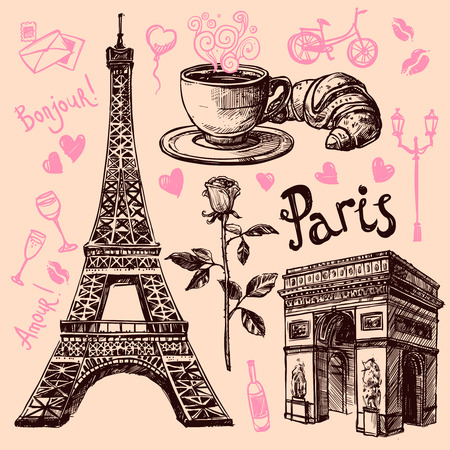 Paris Eiffel Tower and bakery hand drawing symbol set vector illustration Ilustração