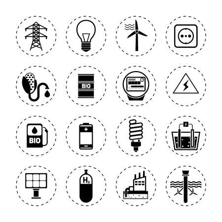 cloud icon: Alternative energy modern green industry icons black set isolated vector illustration Illustration