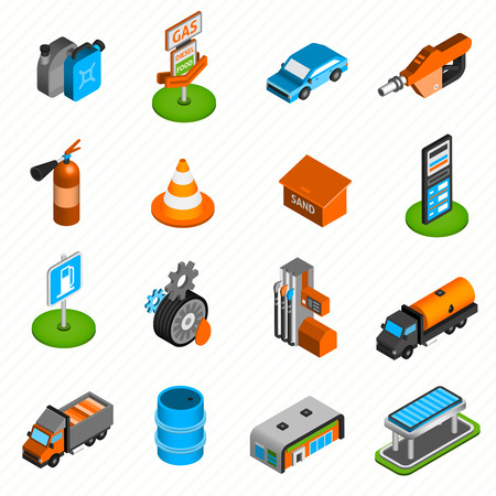 fuel pump: Gas diesel station isometric icons collection of fuel  pump nozzle and fire extinguisher abstract isolated vector illustration