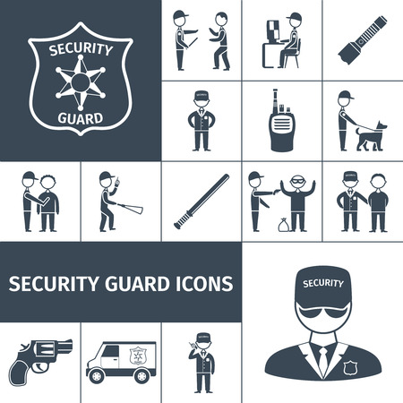 Security service guard officer uniform emblem baton and handgun black icons set abstract isolated vector illustration