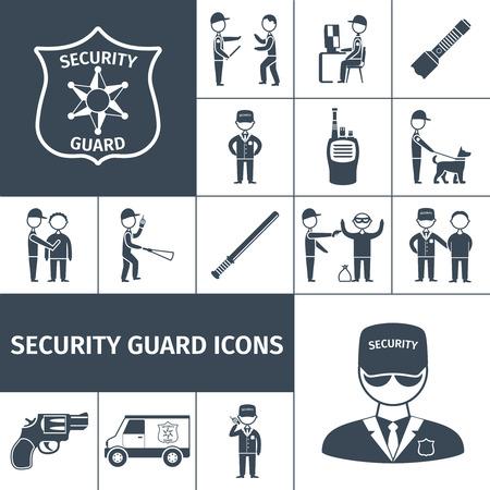 estafette stokje: Veiligheidsdienst guard officer uniform embleem baton en pistool zwarte pictogrammen set abstract geïsoleerde vector illustratie Stock Illustratie