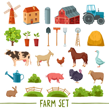 raking: Farm multicolored icon set with house barn tractor tree haystack cattle poultry garden tools isolated vector illustration Illustration