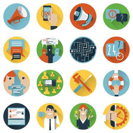 Internet forum gebruikers gemeenschap set van 24h hulp vlakke pictogrammen en ideeën delen abstract geïsoleerde vector illustratie
