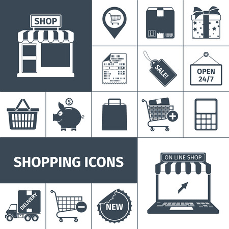 pack: Shopping cash and online with sales and delivery black white square icons set flat isolated vector illustration