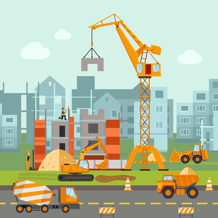 construction machines: Building work process with houses and construction machines flat vector illustration
