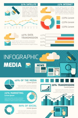 dissemination: Media infographic set with communication elements and charts vector illustration