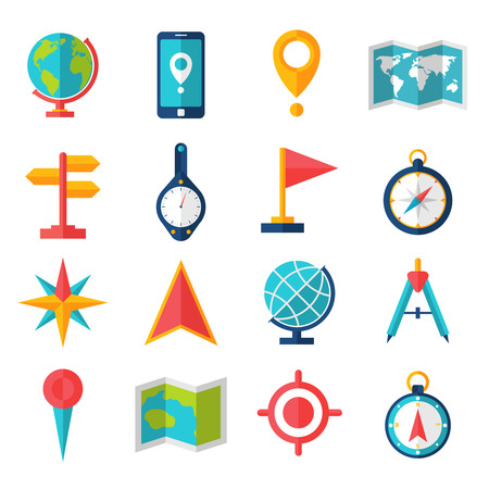 Cartography and geography tools accessories and symbol flat icon set isolated vector illustration Illustration