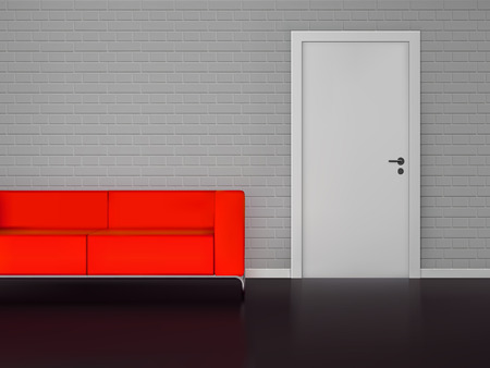 stage door: Realistic red sofa with brick wall and closed white door interiorvector illustration.