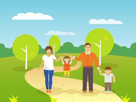 family outdoors: Happy family outdoors with smiling parents couple and boy and girl children flat vector illustration